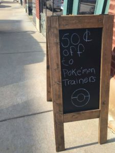 shop offering discounts to Pokemoin trainers